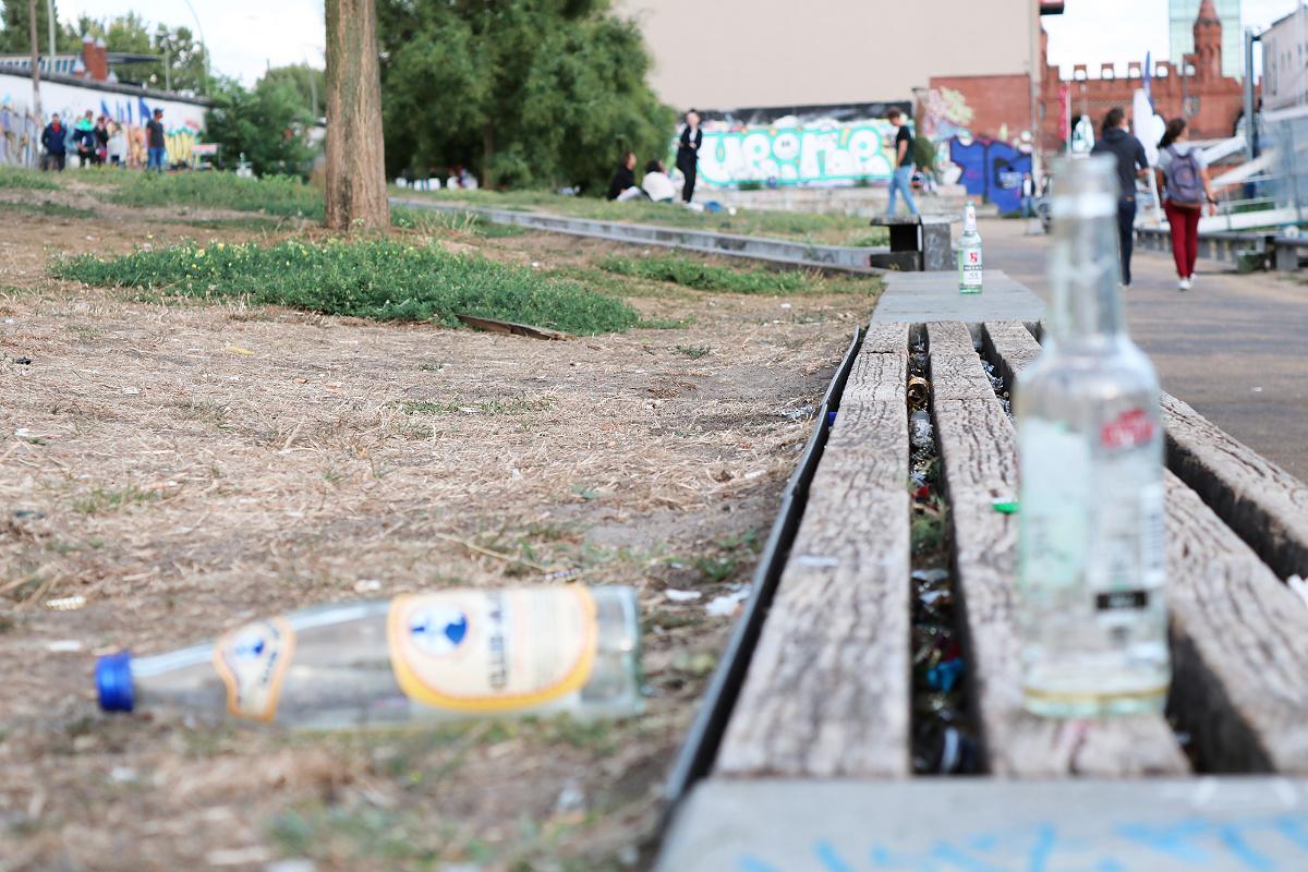 Weggeworfene Pfandflaschen
